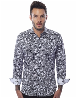 Luxury Button down - White Black Circle