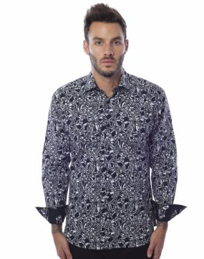 Modern Dress Shirt - Black Circle
