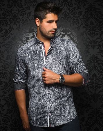 Designer Dress Shirt: Del Florino Black White