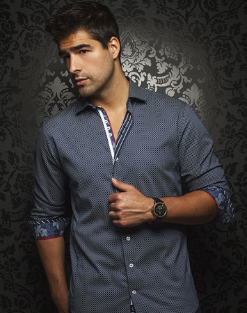 Luxury Shirt: Men Navy Dress Shirt