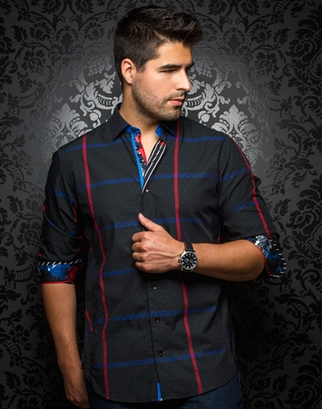 Designer Dress Shirt: Devon Check Black