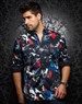 Designer Dress Shirt: Devon Print Black