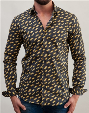 Luxury Black And Gold Print Button Down
