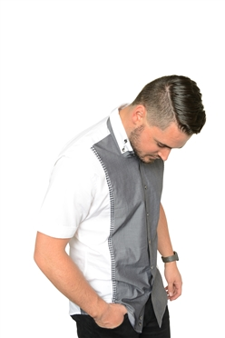 De Marcus Short Sleeve | Stefan White Grey