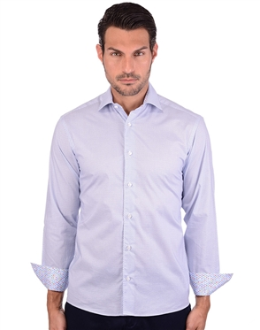Beautiful Diamond Blue Cotton Dress Shirt