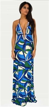 Donatella Dress Corrine Blue Green Swarovski Dress
