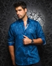 Designer Dress Shirt: Dorian Navy Turquoise