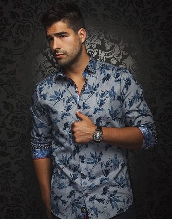 Luxury Sport Shirt - Navy Floral