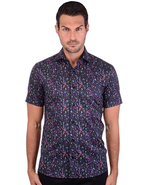 Multi Colored Black Cotton Shirt
