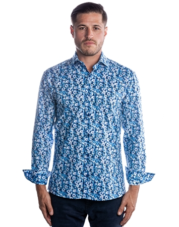 Blue Floral Dress Shirt modern Fashion Shirt -