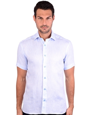 Fresh New  Blue Short Sleeve Men's Shirt