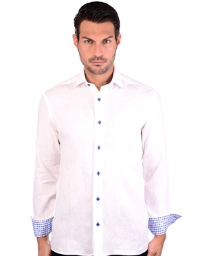 Pearl White Men's Linen Dress Shirt