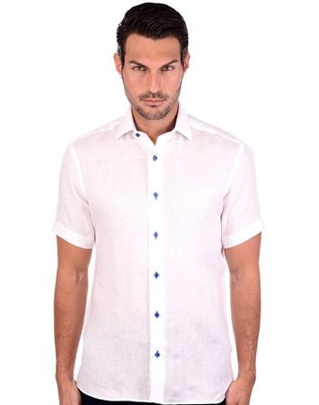 Ivory White Linen Men's Shirt