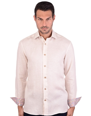 Caramel Beige Men's Linen Dress Shirt