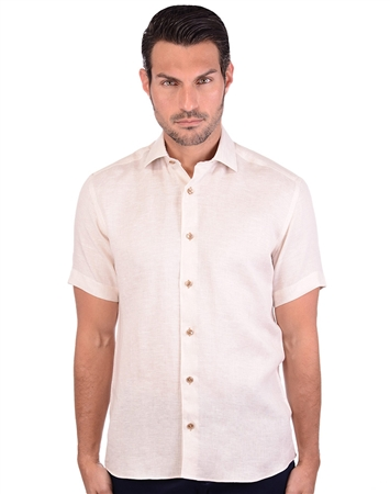 Candid Beige Men's Linen Shirt