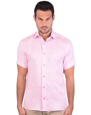 Casual Light Pink Linen Shirt