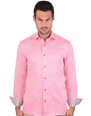 Flaming Red Men's Linen Dress Shirt