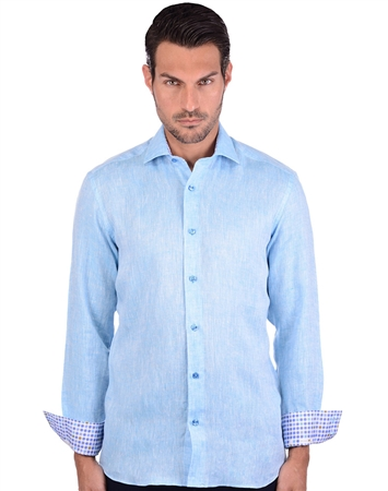 Refreshing Turquoise Men's Linen Shirt