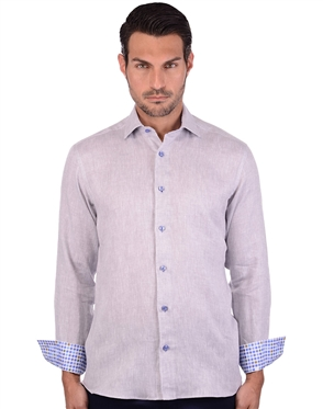 Silvery Grey Men's Linen Dress Shirt