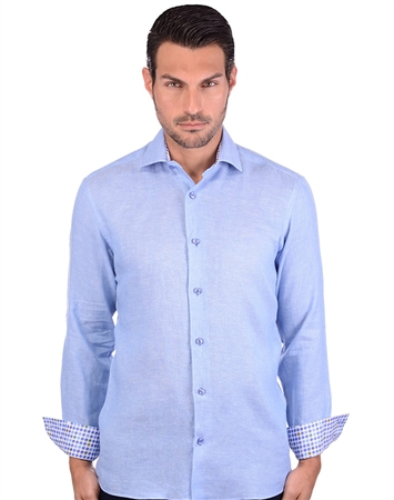 Sea Blue Men's Linen Woven Shirt
