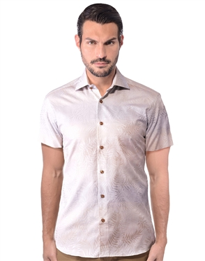 Tropical Beige Short Sleeve Woven Shirt