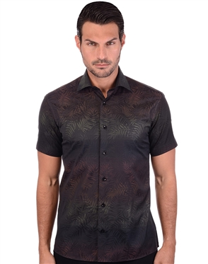 Designer Brown Black Men's Dress Shirt