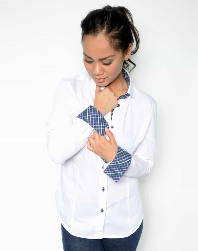 Women White Designer Dress Shirt | Next Level Couture Elysees White