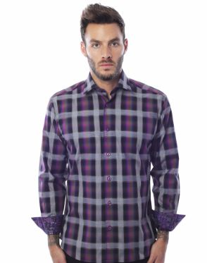 Purple Check Dress Shirt - Emilio 06