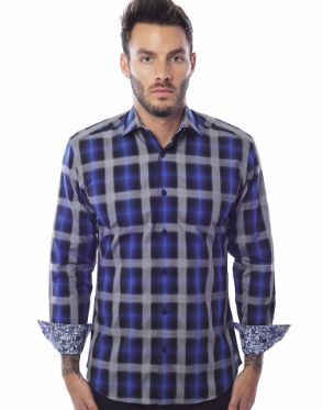 Navy Check Dress Shirt