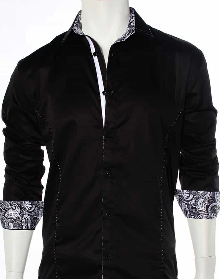 Black Dress Shirt | Dress Shirt with Paisley- 51014-09