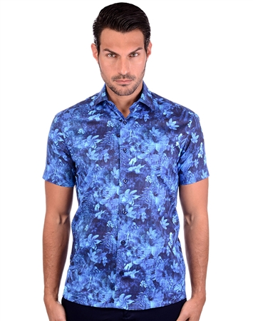 Floral Navy Men's Cotton Shirt