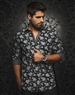 Luxury Shirt: Men Black Floral Dress Shirt
