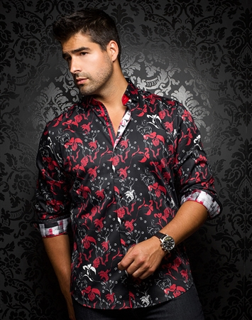 Luxurious and Sporty Black Floral Shirt