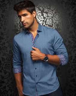 Luxury Dress Shirt: Men Navy Luxury Dress Shirt