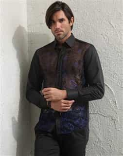 Men Luxury Blue Transparent shirt