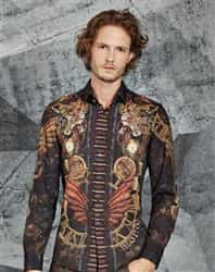 Unique Shirt: Print Long Sleeve Brown Shirt