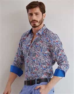 Luxury Dress Shirt | White blue Unique Paisley Dress Shirt