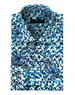 Men's Designer Dress Shirt - Geometric Blue Prism Print Dress Shirt