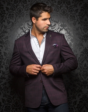 Luxury Men's Stretch Blazer - Gatsby Burgundy