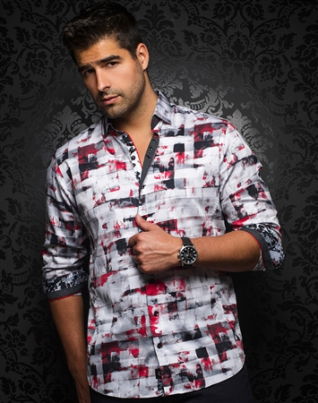 Luxurious and Sporty Red Black Dress Shirt