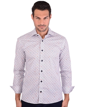 Charming White Doggy Patterned Dress Shirt