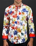 Luxury White Red Floral Shirt