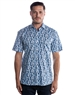 Short Sleeve Luxury Dress Shirt - Blue Floral Button Down