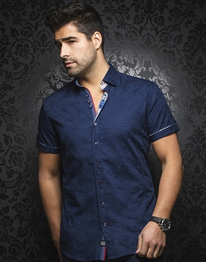 Sporty Short Sleeve Dress Shirt:  Herrera Navy