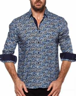 Slim Fit Woven - Blue and Navy Floral