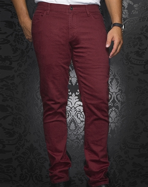 Men's Sporty Burgundy Jeans