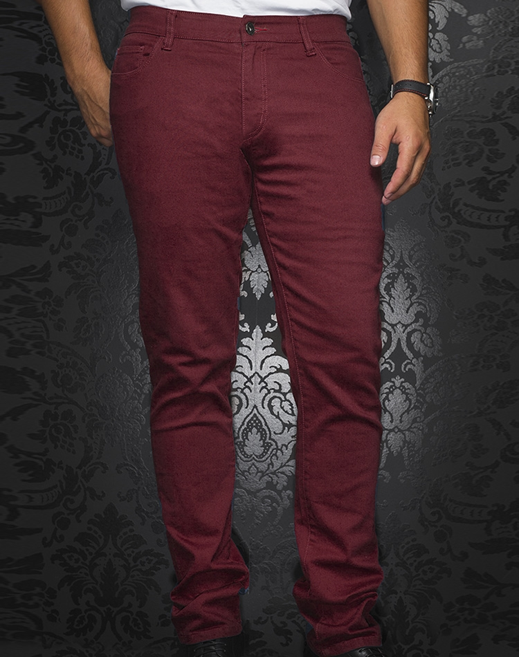 ee85e8eb Sporty Burgundy Pants | Designer Slim Fit Jeans | Au Noir