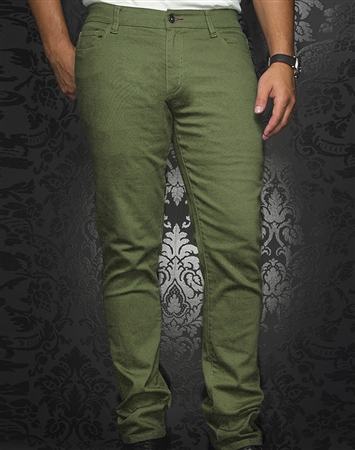 Men's Sporty Olive Green Jeans