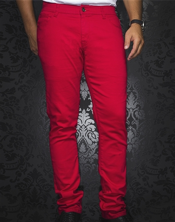 Sporty Red Slim Fit Jeans