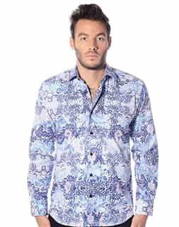 Summer Shirt: Casual Sport Shirt- Blue Floral Print Shirt